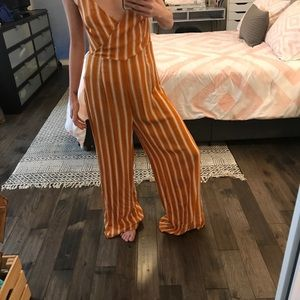 Mustard and white forever 21 jumpsuit